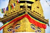 Buddha eyes or Wisdom eyes at Swayambhunath Temple — Stock Photo