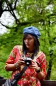 Thai women shooting photo at Shwenandaw Monastery — Stock Photo