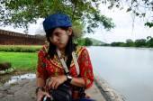 Thai women scowl and women look displeased — Stock Photo