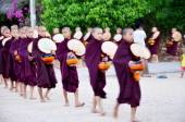 Monk procession walking on the road — Stock Photo