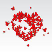 Valentine's Heart of butterflies. — Vector de stock