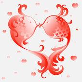 Happy Valentine's fish — Stock Vector