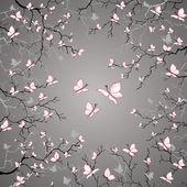 Cherry branches of butterflies. — Stockvektor