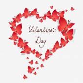 Valentine's Heart of butterflies. — Stock Vector