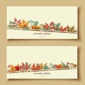 Outono floral abstrato. Bandeira de folhas. — Vetor de Stock