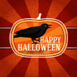 Pumpkin shape retro stylized badge, with black scary raven and happy halloween greeting. Vector — Stock Vector #54248499