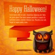 Happy halloween cute banner or greeting card on the craft paper texture with brown owl and speech bubble from her head for your text. Background - witches, pumpkins, spiders, bats. — Vecteur #54244437