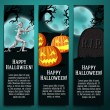 Set of halloween banners with mummy, jack o lantern pumpkins, R.I.P. tombstone symbols - moony background and scary tree branches. — Stock Vector #54247421
