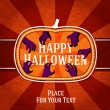 Pumpkin shape retro stylized badge, with creepy hands getting the happy halloween greeting. And place for your text. Vector — Stock Vector #54248531