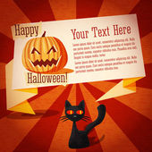 Happy halloween cute retro banner on the craft paper texture with black cat and pumpkin — Wektor stockowy