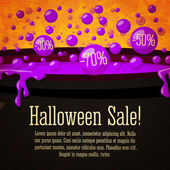 Happy halloween Sale cute retro banner on the craft paper texture. Black witch cauldron boiling violet potion, with sale marks in bubbles, place for your text. Vector. — Wektor stockowy