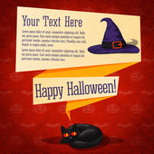 Happy halloween cute retro banner - craft paper texture with black cat, witch hat, greeting and place for your text. — Stock Vector