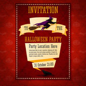 Banner invitation to the halloween party with witch on top and place for your description, location. — Stock Vector