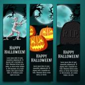Set of halloween banners with mummy, jack o lantern pumpkins, R.I.P. tombstone symbols - moony background and scary tree branches. — Stock Vector