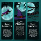 Set of halloween banners with witch, hat, bat symbols - moony background and scary tree branches. — Stock Vector