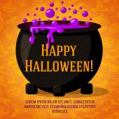 Happy halloween cute retro banner on craft paper texture with black witch cauldron boiling the potion. Greeting and place for your text. Background - witches, bats, spiders. — Vettoriale Stock