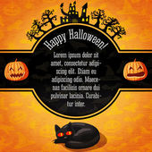 Happy halloween banner with greetings and sample text. Spooky trees, haunted castle, black cat on the bottom. Background - pumpkins, witch, spider, bats. Vector. — Stock Vector