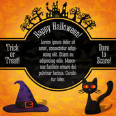 Happy halloween banner with greetings, sample text. Spooky trees, haunted castle, black cat and witch hat on the bottom. Background - pumpkins, witches, spider, bats. Vector. — Stock Vector