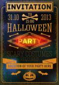 Invitation to halloween party with bats, bones, pumpkins. Place for your text, location. Vector — Vettoriale Stock
