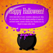 Happy halloween cute retro banner on craft paper texture with black witch cauldron boiling the potion, greeting and place for your text. Background - witches, bats, spiders. — Vettoriale Stock