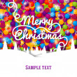 Merry Christmas greeting card with swirl lettering on the bright background made from colorful laces. — Stock Vector #56431975