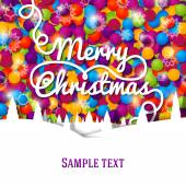 Merry Christmas greeting card with swirl lettering on the bright background made from colorful laces. — Stock Vector