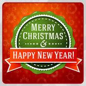 Vintage estilizada verde feliz Natal e feliz ano novo rótulo, fita vermelha. Fundo brilhante com flocos de neve. Vector. — Vetor de Stock