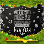 Wish you a merry christmas and happy new year message, written on the school chalkboard. Decorated with spruce tree fur. — Stok Vektör