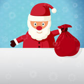 Merry Christmas greeting card - Santa Claus standing with sack of presents. Vector. — 图库矢量图片