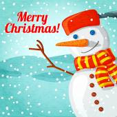 Merry Christmas greeting card with cute snowman and place for your text. Vector — 图库矢量图片