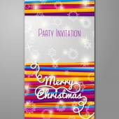Merry Christmas Party invitation - bright laces on white background with snowflakes. — Stock Vector