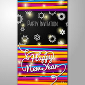 New Year Party invitation - bright laces on black background with snowflakes. — 图库矢量图片