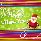 Happy New Year greeting card. On bright background with colorful laces and Santa Claus. Vector. — Stock Vector