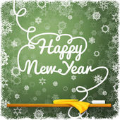 Happy New Year message, written on the green school chalkboard with curl lettering. — Stok Vektör