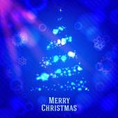 Merry christmas tree made from shining bokeh, on blue night background with snowflakes. vector — Stock Vector