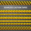 Set of black and yellow seamless caution tapes with different signs. Police line, crime scene, high voltage, do not cross, under construction etc. — Stock Vector #58895909