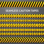 Set of black and yellow seamless caution tapes with different signs. Police line, crime scene, high voltage, do not cross, under construction etc. — Stock Vector