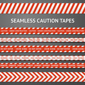 Set of red and white seamless caution tapes with different signs. Police line, crime scene, high voltage, do not cross, under construction etc. — Stock Vector
