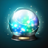 Vector bright glowing crystal ball for fortune tellers. — Stock Vector