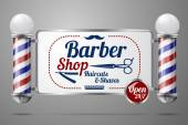 Two old fashioned vintage silver and glass barber shop poles holding Barber Sign. — Stock Vector