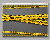 Caution tape in browser with words - Site Under Construction. — Stock Vector