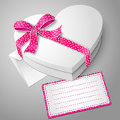 Vector realistic blank white heart shape box with envelope and message card for your text. — Stock Vector