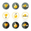 Winners icons set - Cup, Medal and pedestal. Different kinds of flat style. Vector — Stock Vector #64628919