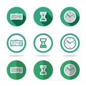 Flat time icons set. Different kinds of flat style. Vector — Stock Vector