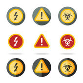 Caution icons set - high woltage, exclamation mark, contamination sign. In different flat styles. — Stock Vector
