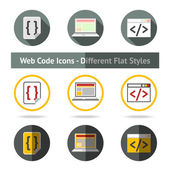 Set of Web Code icons in different flat styles. Vector — Stock Vector