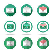 Flat letters icons set - closed, opened, with letter outside. Different kinds of flat style. — Stock Vector
