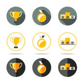 Winners icons set - Cup, Medal and pedestal. Different kinds of flat style. Vector — Stock Vector