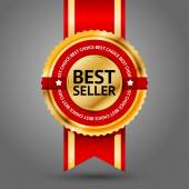 Golden and red Best Seller label — Stock Vector