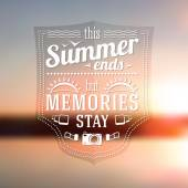 Summer ends but memories stay typographic message — Stock Vector